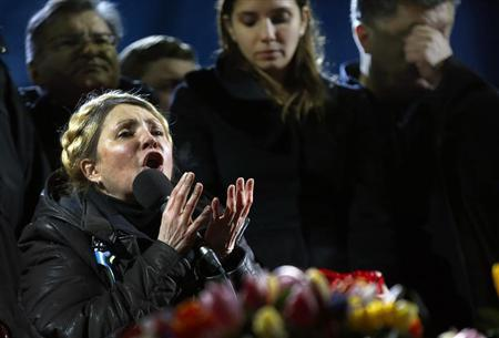 Ukrainian opposition leader Yulia Tymoshenko addresses anti-government protesters gathered at Independence Square in Kiev