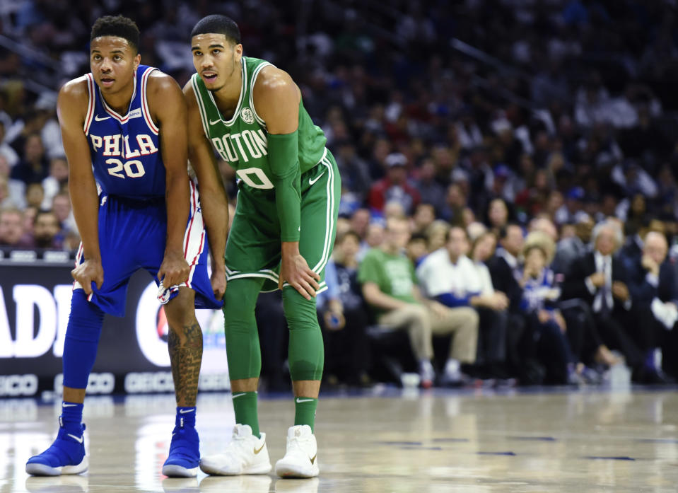 Markelle Fultz and Jayson Tatum will forever be linked. (AP)