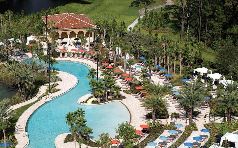 """<p>With its elegant rooms and upscale design, this AAA Five Diamond Resort is a veritable oasis from the busy theme parks. <a href=""""https://www.fourseasons.com/orlando/"""" rel=""""nofollow noopener"""" target=""""_blank"""" data-ylk=""""slk:Packed with amenities"""" class=""""link rapid-noclick-resp"""">Packed with amenities</a> including an indulgent on-site spa, golf course that doubles as an Audubon Sanctuary, and complimentary Kids For All Seasons programming, the hotel could stand on its own as a worthy destination beyond the parks, but it just happens to be in Disney's backyard. Upscale dining at Capa and a <a href=""""https://www.travelandleisure.com/trip-ideas/disney-vacations/best-disney-world-character-goofy-breakfast-four-seasons-resort"""" rel=""""nofollow noopener"""" target=""""_blank"""" data-ylk=""""slk:distinguished Disney character breakfast"""" class=""""link rapid-noclick-resp"""">distinguished Disney character breakfast</a> make it equally grand for couples or families with children, as an expansive water play area with the Explorer Island splash zone, lush lazy river, and multiple water slides perfectly counterbalance the <a href=""""https://www.travelandleisure.com/hotels-resorts/four-seasons-resort-orlando"""" rel=""""nofollow noopener"""" target=""""_blank"""" data-ylk=""""slk:serene adults-only pool"""" class=""""link rapid-noclick-resp"""">serene adults-only pool</a>. Don't miss the boutique, which offers upscale items with distinctly Disney touches — perfect, given that your stay comes with theme park benefits like Extra Magic Hours and <a href=""""https://www.travelandleisure.com/trip-ideas/disney-vacations/disney-world-perks"""" rel=""""nofollow noopener"""" target=""""_blank"""" data-ylk=""""slk:extended Fastpass+ booking windows"""" class=""""link rapid-noclick-resp"""">extended Fastpass+ booking windows</a>.</p>"""