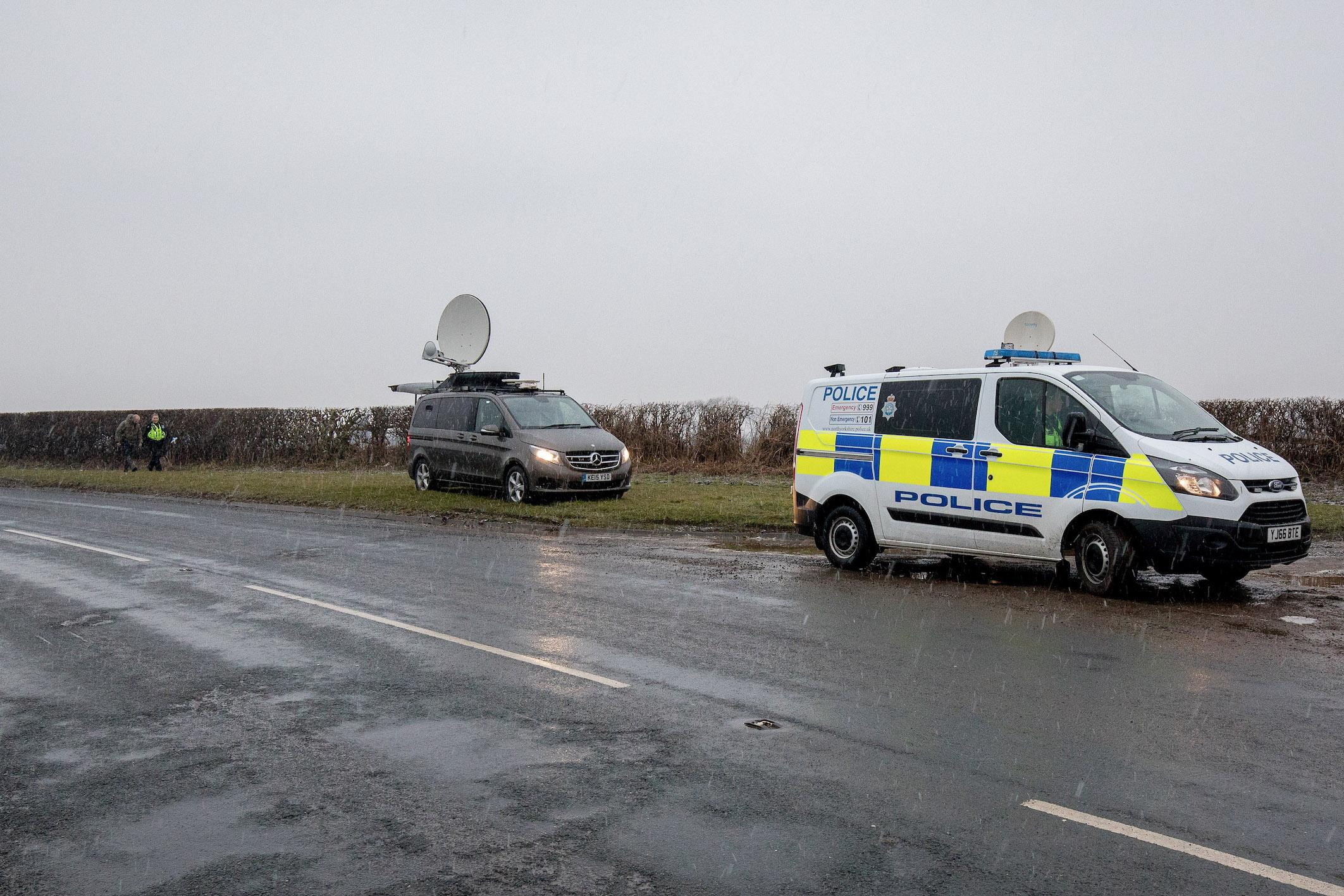 Police at the scene of the crash in North Yorkshire on Thursday morning. (Mercury/Charlotte Graham)