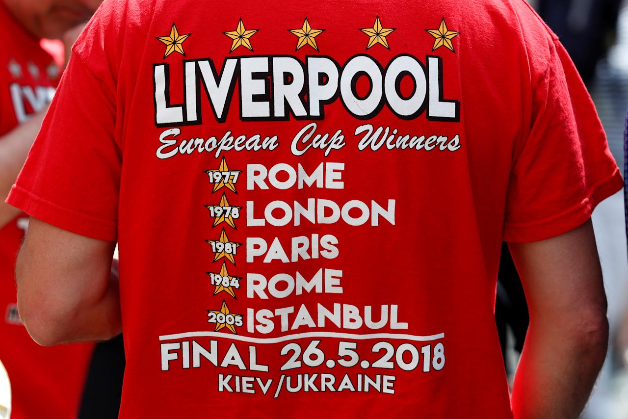 Soccer Football - Champions League - Preview - Kiev, Ukraine - May 25, 2018   General view of a Liverpool t-shirt at a fanzone in Kiev   REUTERS/Andrew Boyers