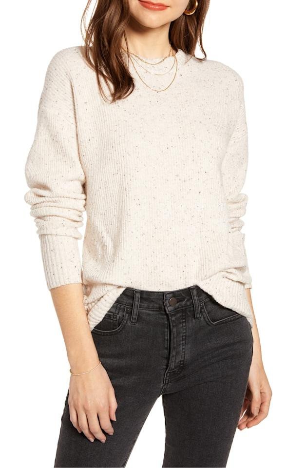 "<p>This <a href=""https://www.popsugar.com/buy/Something-Navy-Flecked-Crewneck-Sweater-491275?p_name=Something%20Navy%20Flecked%20Crewneck%20Sweater&retailer=shop.nordstrom.com&pid=491275&price=47&evar1=fab%3Aus&evar9=43950050&evar98=https%3A%2F%2Fwww.popsugar.com%2Ffashion%2Fphoto-gallery%2F43950050%2Fimage%2F46639512%2FSomething-Navy-Flecked-Crewneck-Sweater&list1=shopping%2Cfall%20fashion%2Csweaters%2Cfall&prop13=api&pdata=1"" rel=""nofollow"" data-shoppable-link=""1"" target=""_blank"" class=""ga-track"" data-ga-category=""Related"" data-ga-label=""https://shop.nordstrom.com/s/something-navy-flecked-crewneck-sweater-nordstrom-exclusive/5214899?origin=category-personalizedsort&amp;breadcrumb=Home%2FWomen%2FClothing%2FSweaters&amp;fashioncolor=White&amp;color=brown%20ganache%20combo"" data-ga-action=""In-Line Links"">Something Navy Flecked Crewneck Sweater </a> ($47, originally $79) is a great deal.</p>"