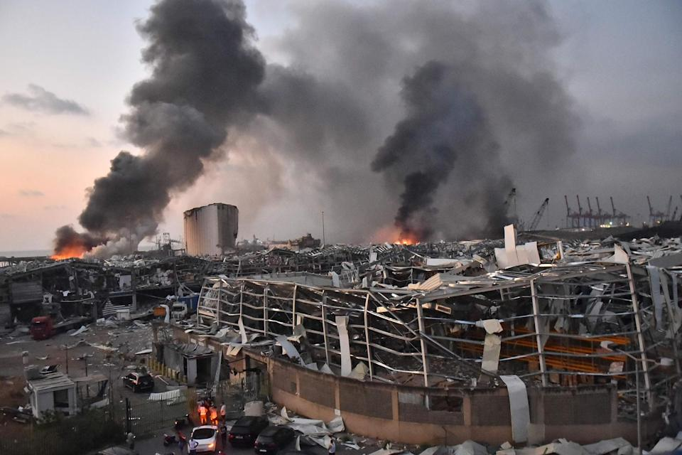 The scene of an explosion at the port of Lebanon's capital Beirut: AFP via Getty Images