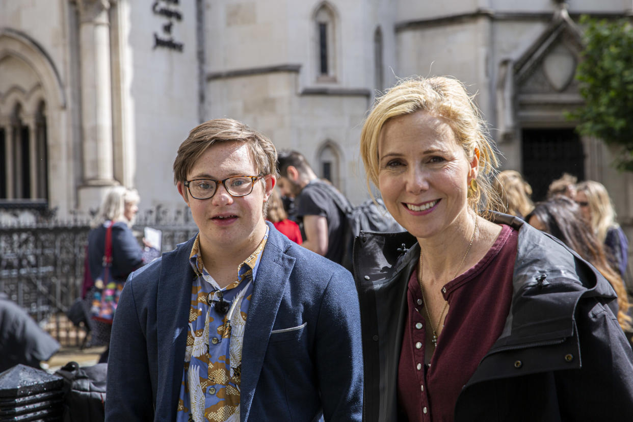 Actor Sally Phillips and her son, who has Down's syndrome, attended the High Court appeal. (Supplied)
