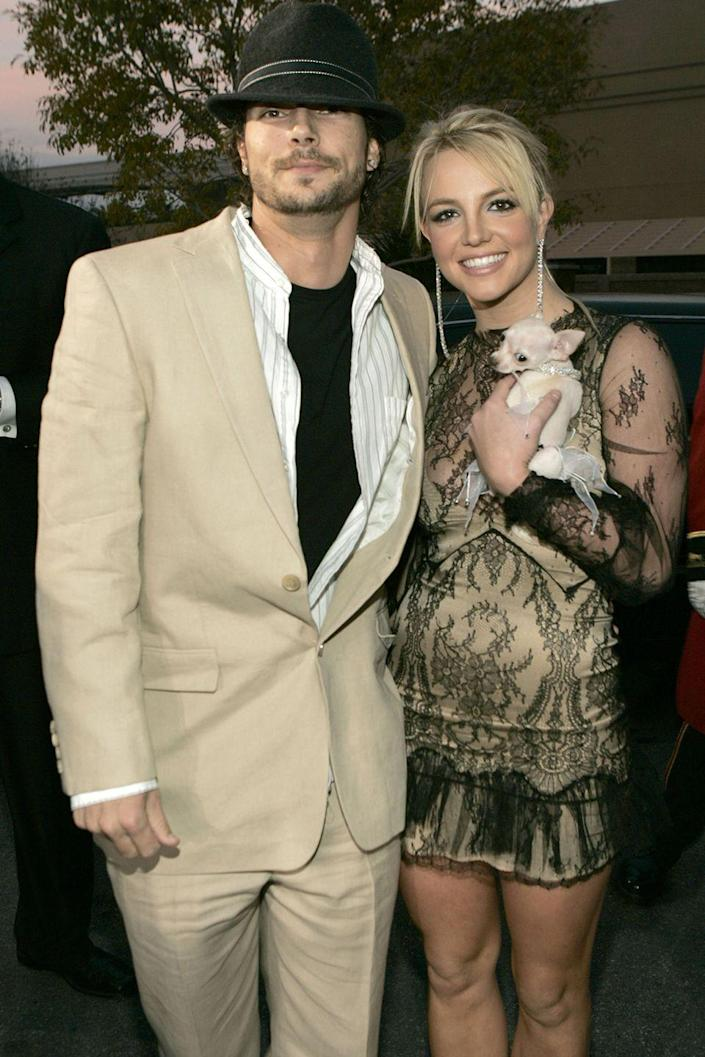 """<p>A few months was all she needed to ask K-Fed to marry her while they were flying from New York to Ireland, details <em><a class=""""link rapid-noclick-resp"""" href=""""https://www.usmagazine.com/celebrity-news/news/britney-spears-and-kevin-federline-10th-wedding-anniversary-2014199/"""" rel=""""nofollow noopener"""" target=""""_blank"""" data-ylk=""""slk:US Weekly"""">US Weekly</a></em>. He said yes, and they were married in a surprise wedding in Studio City, California. After two kids, Sean Preston and Jayden James, they divorced in 2006.</p>"""
