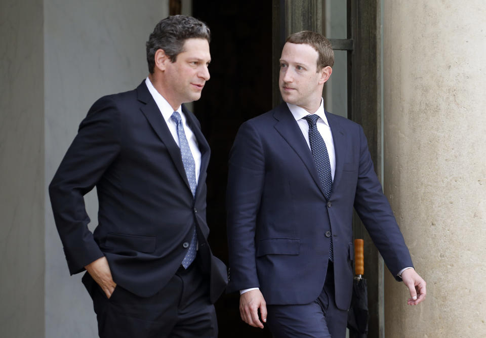 PARIS, FRANCE - MAY 23:  Facebook vice president of global public policy Joel Kaplan and Facebook CEO Mark Zuckerberg leave the Elysee Presidential Palace after a meeting with French President Emmanuel Macron on May 23, 2018 in Paris, France. Zuckerberg will participate tomorrow at the VivaTech fair in Paris.  (Photo by Chesnot/Getty Images)