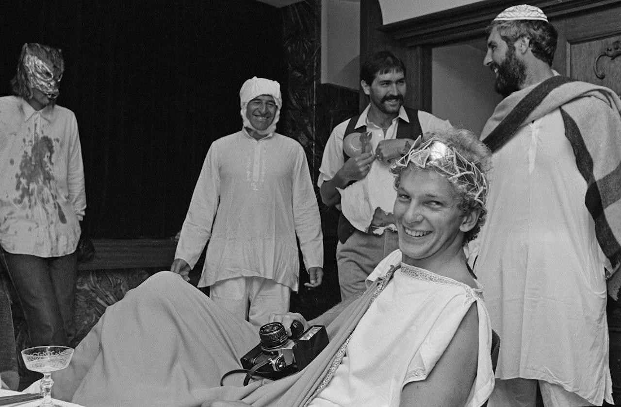 English cricketer David Gower (foreground) dressed in Roman costume during the England tour of Australia, Sydney, December 1979. (Photo by Adrian Murrell/Getty Images)