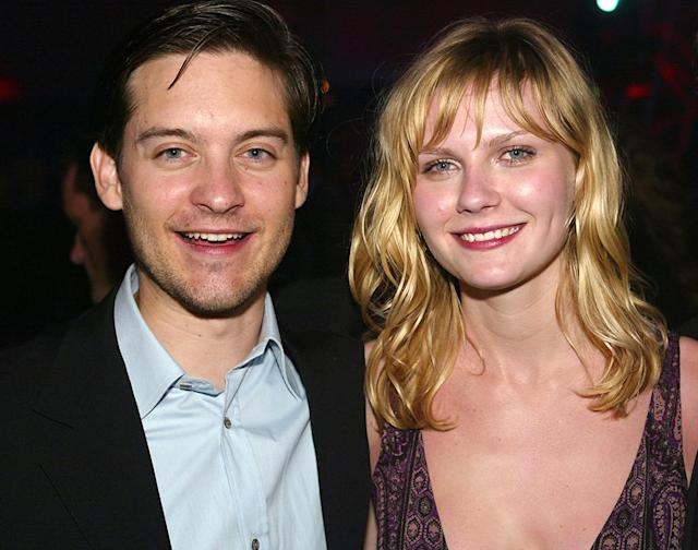 "<p>Although they only briefly dated, director Sam Raimi was worried that Maguire and Dunst's breakup <a href=""https://www.moviefone.com/2007/05/08/sam-raimi-says-he-worried-maguire-dunst-breakup-would-ruin-serie/"" rel=""nofollow noopener"" target=""_blank"" data-ylk=""slk:would affect their on-screen chemistry"" class=""link rapid-noclick-resp"">would affect their on-screen chemistry</a>. (Photo: Kevin Winter/Getty Images) </p>"
