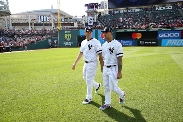 Gary Sanchez #24 and Gleyber Torres #25 of the New York Yankees are seen on the field prior to the 90th MLB All-Star Game at Progressive Field on Tuesday, July 9, 2019 in Cleveland, Ohio. (Photo by Rob Tringali/MLB Photos via Getty Images)