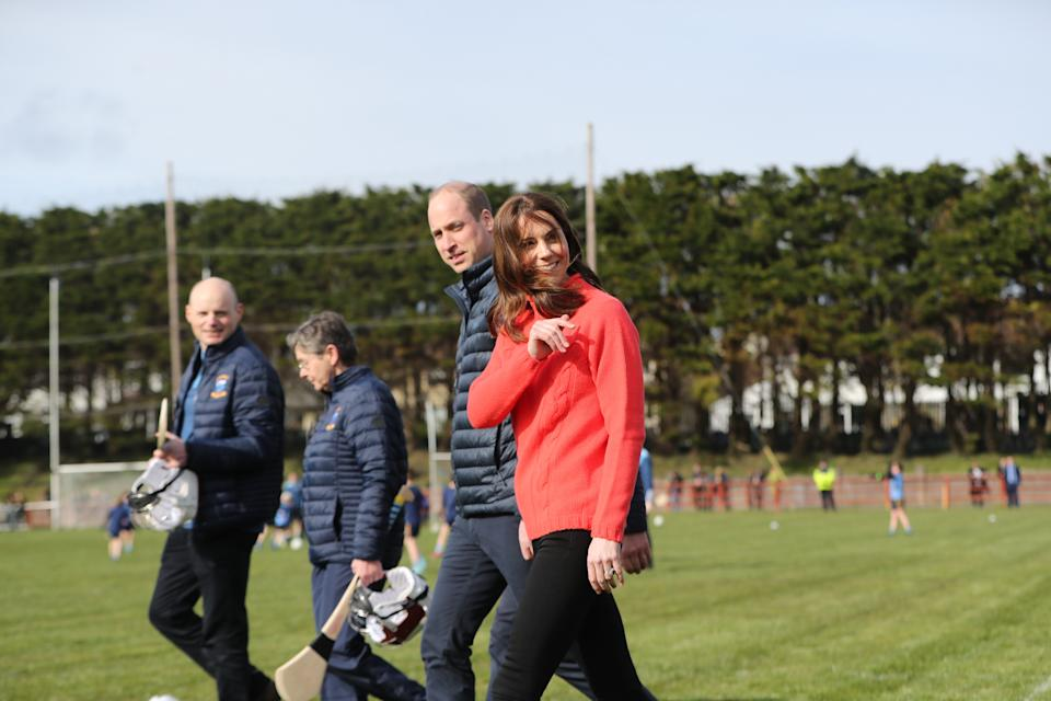 The Duke and Duchess of Cambridge during a visit to Salthill Knocknacarra GAA Club in Galway, to learn more about traditional sports during the third day of their visit to the Republic of Ireland. PA Photo. Picture date: Thursday March 5, 2020. See PA story ROYAL Cambridge. Photo credit should read: Niall Carson/PA Wire