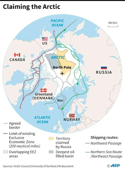 Map of the Arctic showing agreed borders, shipping routes and territorial claims