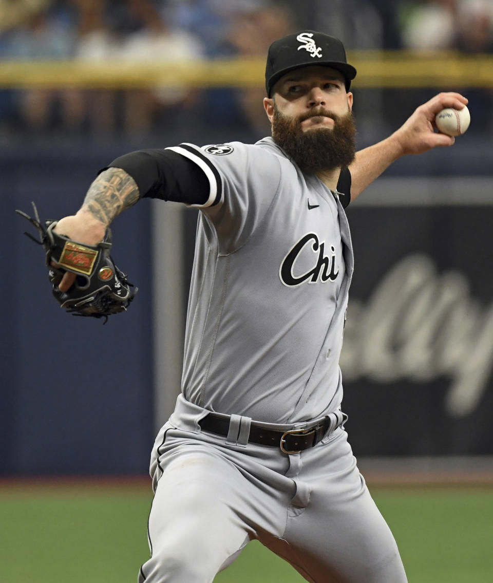 Chicago White Sox starter Dallas Keuchel pitches against the Tampa Bay Rays during the first inning of a baseball game, Saturday, Aug. 21, 2021, in St. Petersburg, Fla. (AP Photo/Steve Nesius)