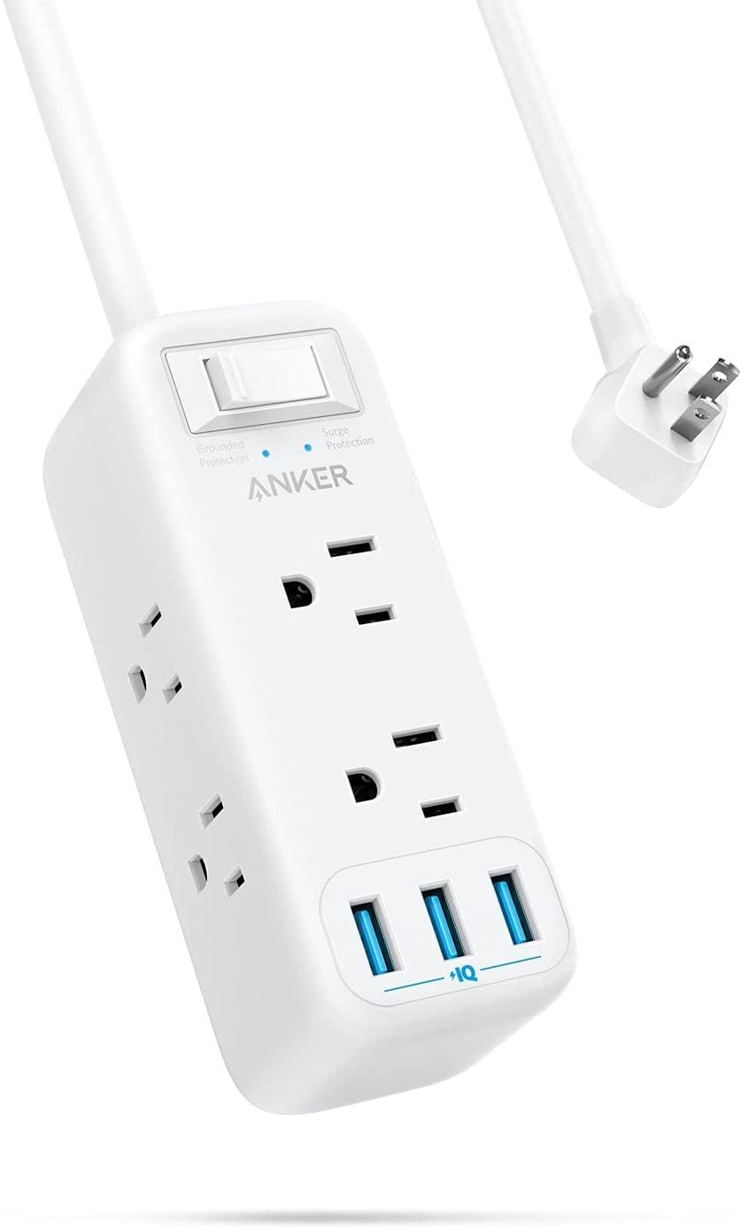 <p>Whether it's your desk or a charging station, the <span>Anker Power Strip Surge Protector with USB</span> ($30) is such a useful find. It's a six-foot extention cord that has six power outlets and three USB ports. </p>