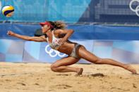 <p>Brandie Wilkerson #2 of Team Canada dives for the ball against Team United States during the Women's Round of 16 beach volleyball on day nine of the Tokyo 2020 Olympic Games at Shiokaze Park on August 01, 2021 in Tokyo, Japan. (Photo by Sean M. Haffey/Getty Images)</p>