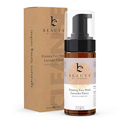 foaming face wash in brown bottle with brown box
