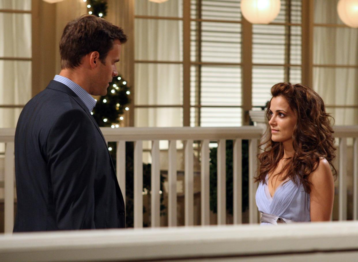 """ALL MY CHILDREN - Cameron Mathison (Ryan) and Rebecca Budig (Greenlee) in a scene that airs the week of July 19, 2010 on Walt Disney Television via Getty Images Daytime's """"All My Children.""""  """"All My Children"""" airs Monday-Friday (1:00 p.m. -  2:00 p.m., ET) on the Walt Disney Television via Getty Images Television Network.   AMC10  (Photo by Carol Kaelson/Walt Disney Television via Getty Images) CAMERON MATHISON, REBECCA BUDIG"""