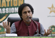 Ramiz Raja, newly elected Chairman of the Pakistan Cricket Board, gives a press conference, in Lahore, Pakistan, Monday, Sept. 13, 2021. Raja was elected unopposed Monday as the chairman of the Pakistan Cricket Board for three years. Last month, Prime Minister Imran Khan, in his role as patron of the PCB, nominated Raja to the governing board. (AP Photo/K.M. Chaudary)