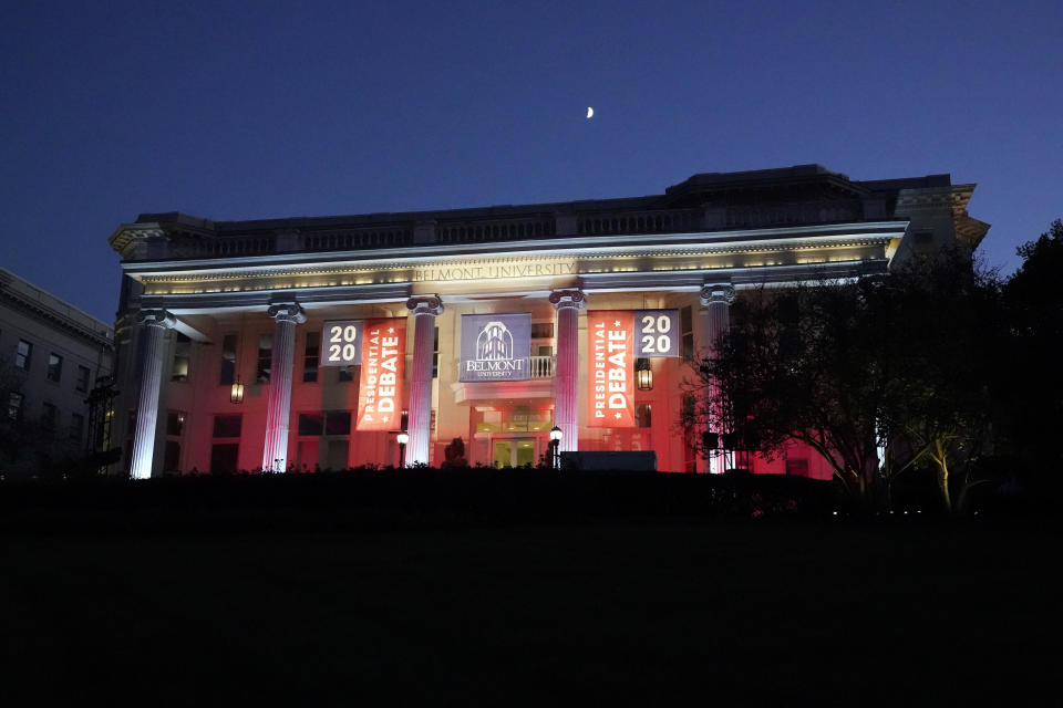 A building on the Belmont University campus is decorated for the second presidential debate between President Donald Trump and Democratic presidential candidate, former Vice President Joe Biden, Thursday, Oct. 22, 2020, in Nashville, Tenn. The debate is scheduled to be held at Belmont later in the evening. (AP Photo/Mark Humphrey)