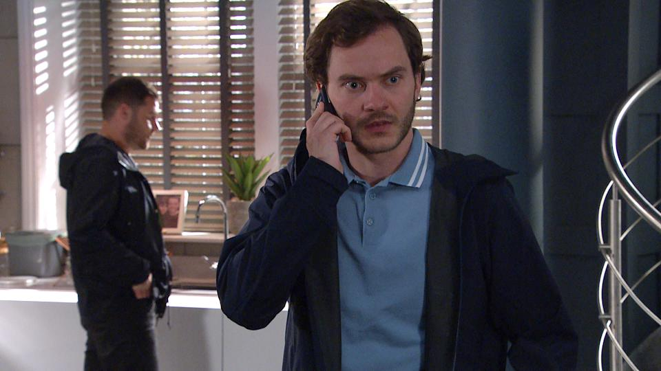 FROM ITV  STRICT EMBARGO  Print media - No Use Before Tuesday 22nd June 2021 Online Media - No Use Before 0700hrs  Tuesday 22nd June 2021  Emmerdale - Ep 9089  Thursday 1st July 2021 - 2nd Ep  Things are getting flirty between Aaron Dingle [DANNY MILLER] and Ben [SIMON LENNON] when Ben is stopped in his tracks by a mysterious and unwelcome phone call.   Picture contact David.crook@itv.com   This photograph is (C) ITV Plc and can only be reproduced for editorial purposes directly in connection with the programme or event mentioned above, or ITV plc. Once made available by ITV plc Picture Desk, this photograph can be reproduced once only up until the transmission [TX] date and no reproduction fee will be charged. Any subsequent usage may incur a fee. This photograph must not be manipulated [excluding basic cropping] in a manner which alters the visual appearance of the person photographed deemed detrimental or inappropriate by ITV plc Picture Desk. This photograph must not be syndicated to any other company, publication or website, or permanently archived, without the express written permission of ITV Picture Desk. Full Terms and conditions are available on  www.itv.com/presscentre/itvpictures/terms