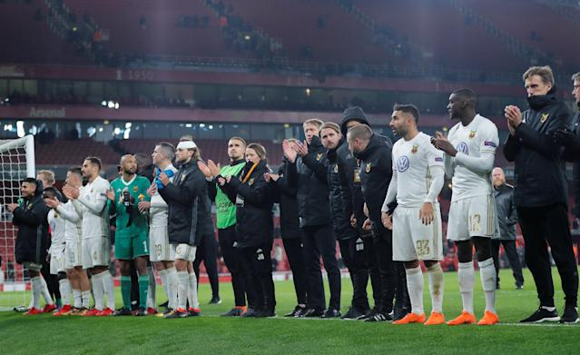 Soccer Football - Europa League Round of 32 Second Leg - Arsenal vs Ostersunds FK - Emirates Stadium, London, Britain - February 22, 2018 Ostersunds FK celebrate after the match REUTERS/Eddie Keogh