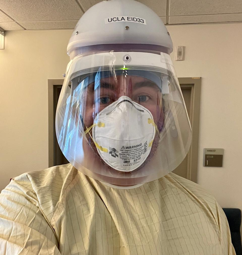 """Russell Buhr, an ICU doctor in Los Angeles, in his pandemic work attire. (Photo: <a href=""""https://twitter.com/rgbMDPhD"""" target=""""_blank"""">Courtesy of Russell Buhr</a>)"""
