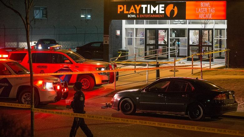 Man dead, woman critically hurt in shooting outside North York bowling alley
