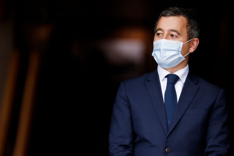 French Interior Minister Gerald Darmanin looks on ahead of a visit of the French President Emmanuel Macron about the fight against separatism at the Seine-Saint-Denis prefecture headquarters in Bobigny