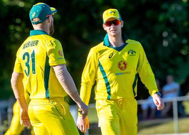 Australia's Steve Smith (right) and David Warner were banned after a ball-tampering scandal (AFP Photo/Patrick HAMILTON)
