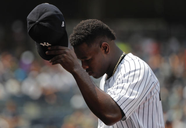 New York Yankees starting pitcher Luis Severino walks to the dugout after giving up two runs during the third inning of a baseball game against the Kansas City Royals, Saturday, July 28, 2018, in New York. (AP Photo/Julie Jacobson)