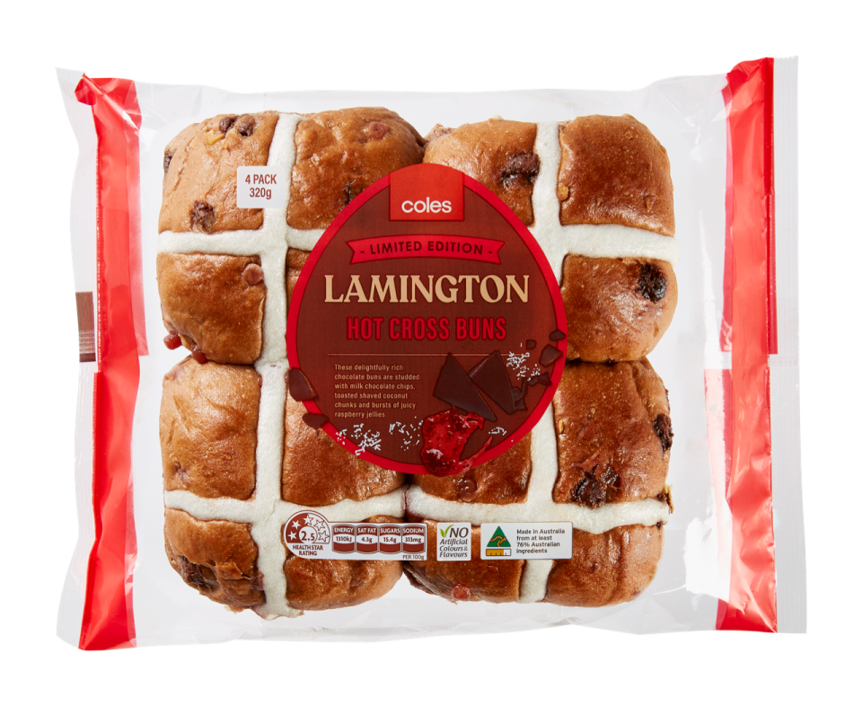 Coles Lamington Hot Cross Buns For Australia Day