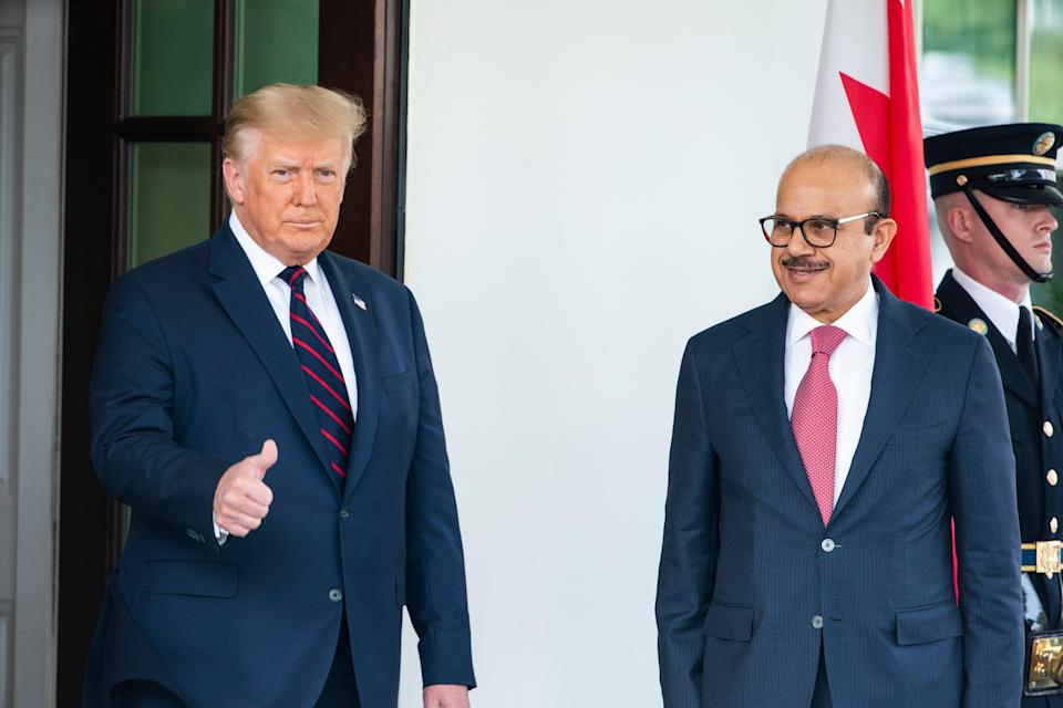 Former US President Donald Trump and the Bahraini Foreign Affairs Minister Sheikh Khalid Bin Ahmed Al-Khalifa, at the signing of the Abraham Accords in September (EPA)