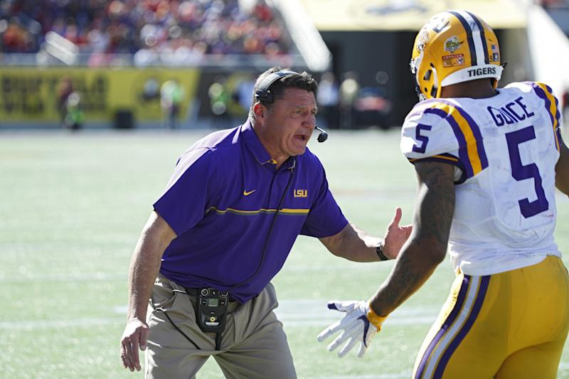 Ed Orgeron might consume more energy drinks per day than Dana Holgorsen