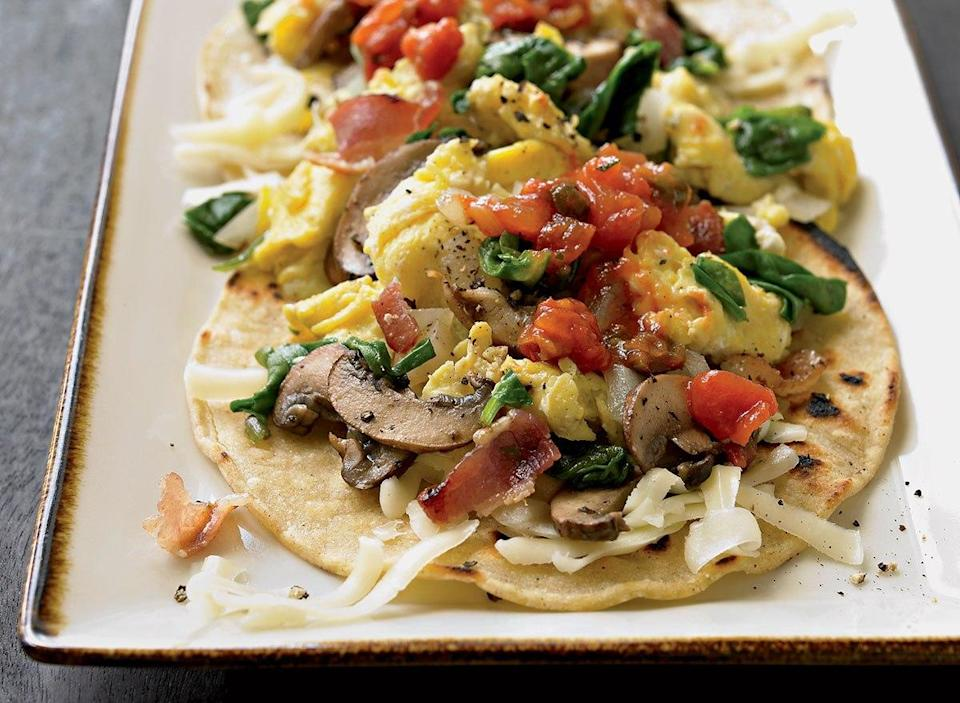 Breakfast tacos with bacon and spinach