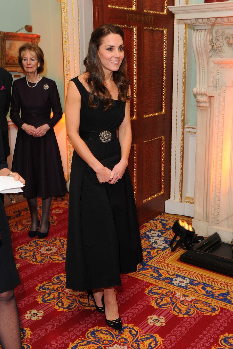 <p>The Duchess showed her strength in eveningwear with a black sleeveless Preen dress with a belt and black cut-out pumps at the<br><br><br><br><br><br><br><br><br><br><br><br><br><br><br><br><br><br><br><br><br><br><br><br><br><br><br>Place2Be Wellbeing in Schools Awards in London. </p>