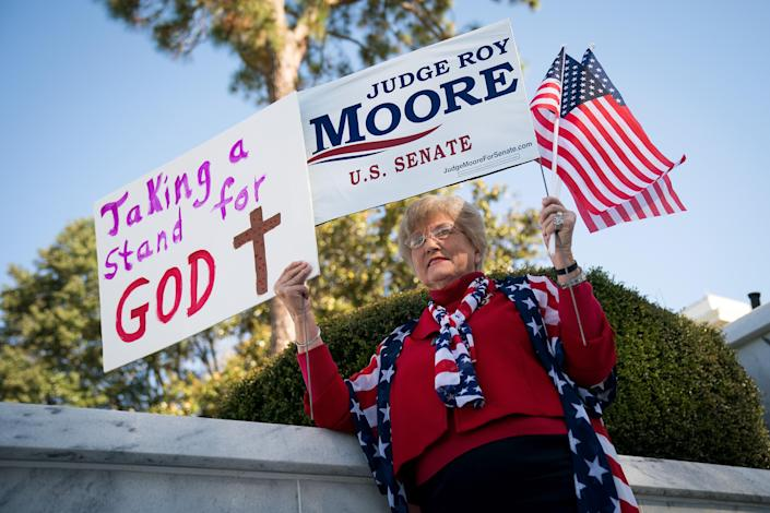 Patricia Riley Jones attends a Women for Moore rally in support of Roy Moore's candidacy in front of the Alabama State Capitol in November 2017 in Montgomery, Ala. (Photo: Drew Angerer/Getty Images)
