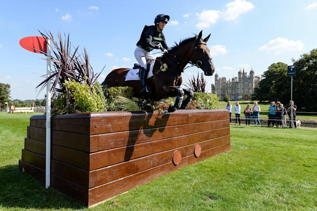 Piggy French riding VANIR KAMIRA during the cross country phase of the Land Rover Burghley Horse Trials in the grounds of Burghley House near Stamford in Lincolnshire in the UK between 29th August and 2nd September 2018