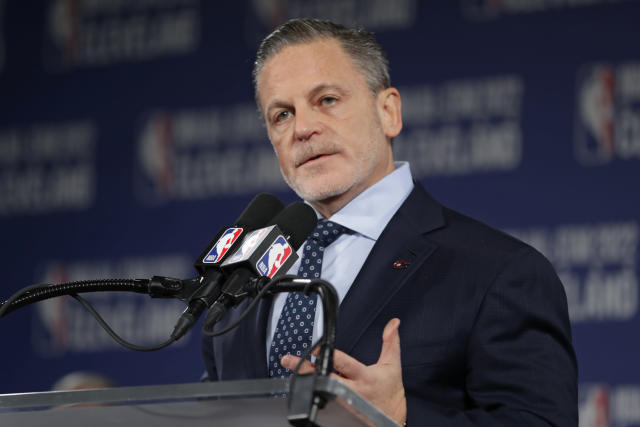 Cavaliers chairman Dan Gilbert speaks at news conference announcing the 2022 NBA All -Star game, Thursday, Nov. 1, 2018, in Cleveland. The 71st NBA All-Star game will take place at Quicken Loans Arena. The Cavaliers previously hosted the NBA All-Star game in 1997, when the NBA celebrated its 50th anniversary, and in 1981. (AP Photo/Tony Dejak)