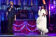 """<p>The co-hosts started the evening with a quick and quippy chat, expressing their gratitude for the opportunity and for the vaccinated frontline workers in the audience. Urban also hosted the 2020 ACM Awards in September. Guyton, who welcomed her first child in February, <a href=""""https://people.com/parents/mickey-guyton-welcomes-son-grayson/"""" rel=""""nofollow noopener"""" target=""""_blank"""" data-ylk=""""slk:made history"""" class=""""link rapid-noclick-resp"""">made history</a> as the first Black female artist to host the annual awards show. </p>"""