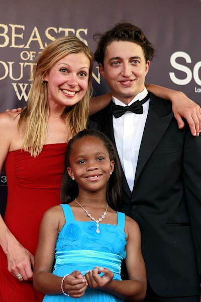 """Benh Zeitlin, right, Lucy Alibar, left, and QuvenzhanÈ Wallis arrive at the movie premiere of """"Beasts Of The Southern Wild"""" at the Joy Theater in New Orleans, Monday, June 25, 2012. (AP Photo/Gerald Herbert)"""