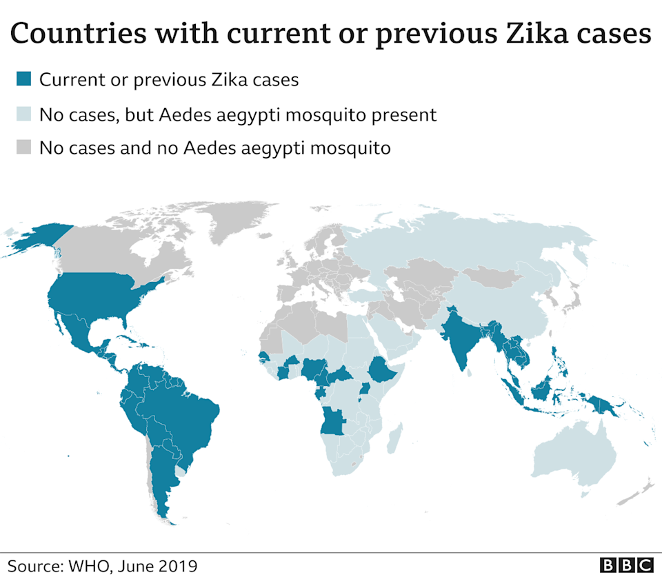 Map of all 84 countries where Zika has been identified