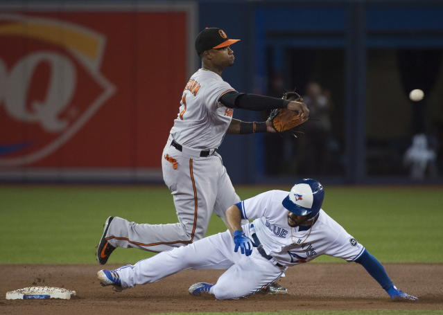 Baltimore Orioles shortstop Tim Beckham (1) forces out Toronto Blue Jays' Devon Travis (29) at second base then turns the double play over to first base to out Toronto Blue Jays' Justin Smoak (14) during the first inning of a baseball game, Tuesday, Aug. 21, 2018, in Toronto. (Nathan Denette/The Canadian Press via AP)