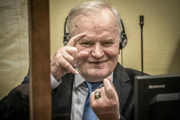 """The man dubbed the """"Butcher of Bosnia"""" briefly closed his eyes and shook his head as the Hague tribunal rejected his appeal"""