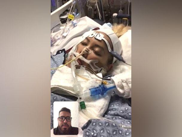 PHOTO: Rodolfo Lopez speaks via a video call with his wife Reyna while she was hospitalized with COVID-19. (Courtesy Rodolfo Lopez)