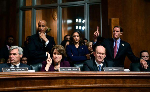 PHOTO: Democratic Senate Judiciary Committee members, left to right, Sheldon Whitehouse, Cory Booker, Amy Klobuchar, Kamala Harris, Christopher Coons, and Richard Blumenthal look on during a hearing on Capitol Hill in Washington on Sept. 28, 2018. (Brendan Smialowski/AFP/Getty Images)