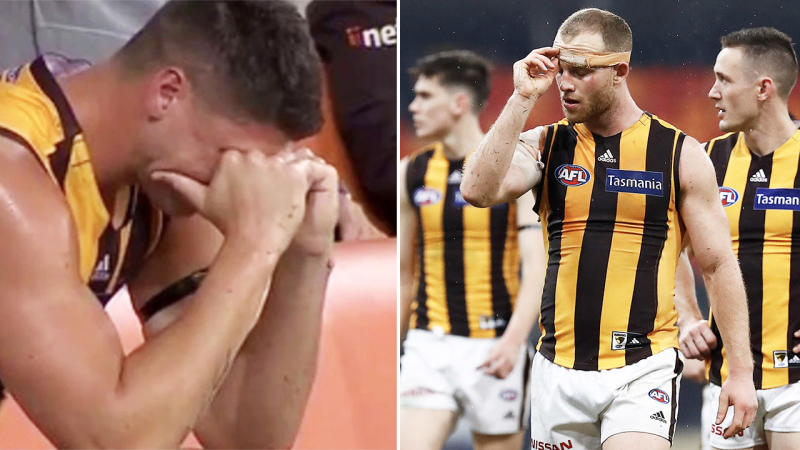 Jonothan Patton, pictured here in tears after suffering another injury in Hawthorn's loss.