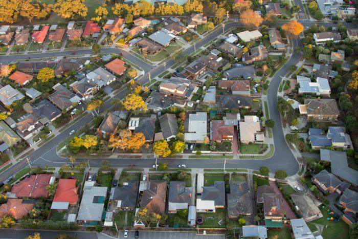An aerial view of houses in Melbourne.