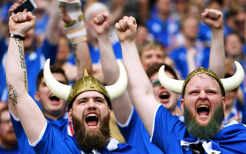 Iceland fans before the UEFA EURO 2016 group F preliminary round match between Iceland and Austria at Stade de France in Saint-Denis, France, 22 June 2016. - Credit: GEORGI LICOVSKI/EPA