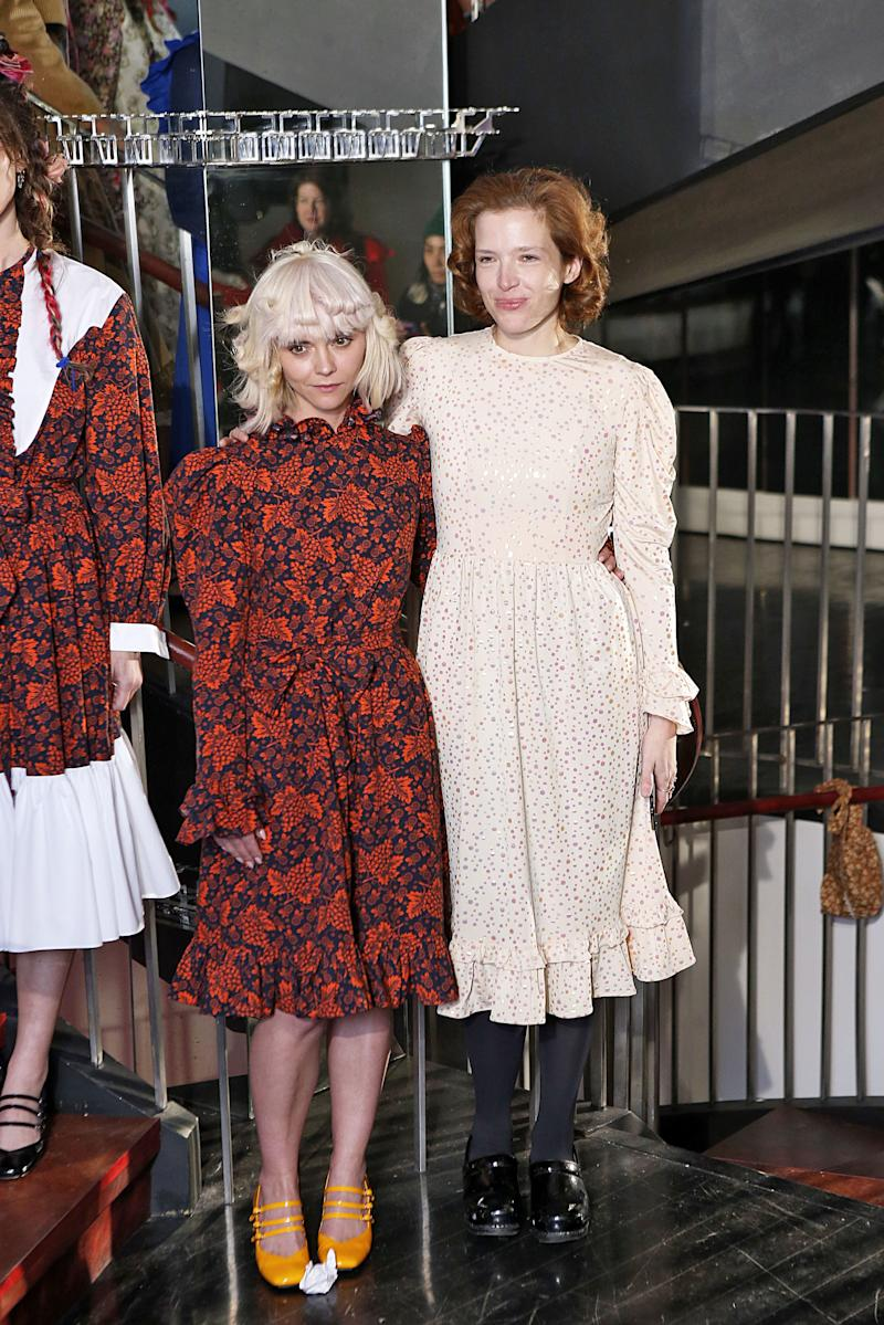 Designer Batsheva Hey (right)'s latest muse, Christina Ricci, managed to keep a low profile at Batsheva's fall/winter 2019 show during New York Fashion Week in February 2019.