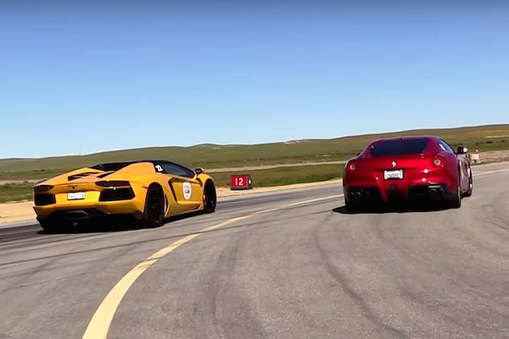watch a ferrari f12 and lamborghini aventador roadster hit. Cars Review. Best American Auto & Cars Review