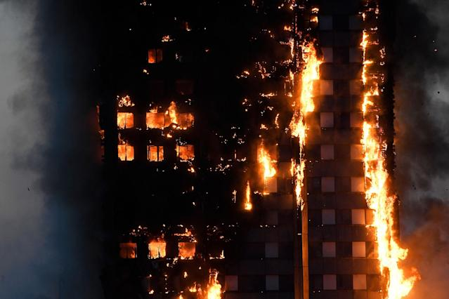 <p>Flames and smoke billow as firefighters deal with a serious fire in a tower block at Latimer Road in West London, Britain June 14, 2017. (Toby Melville/Reuters) </p>